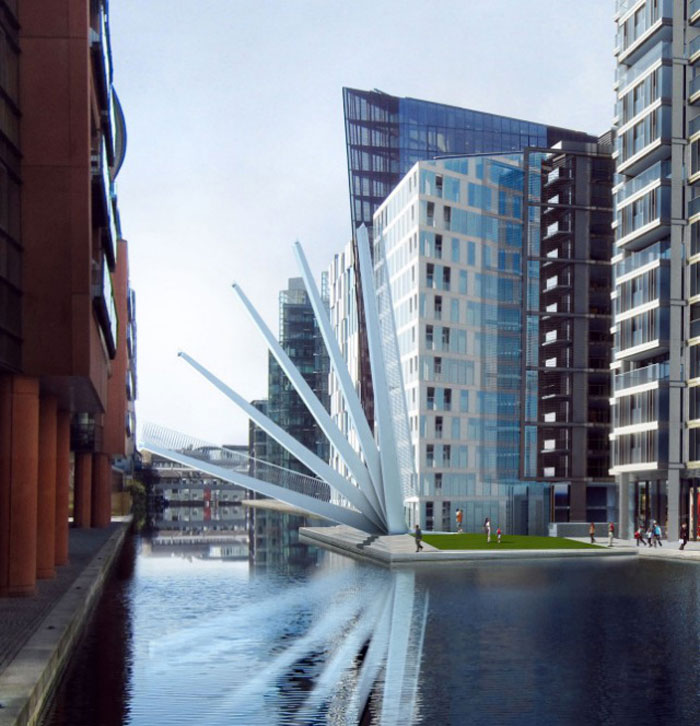 Unfolded Merchant Square Footbridge in Paddington London by Knight Architects