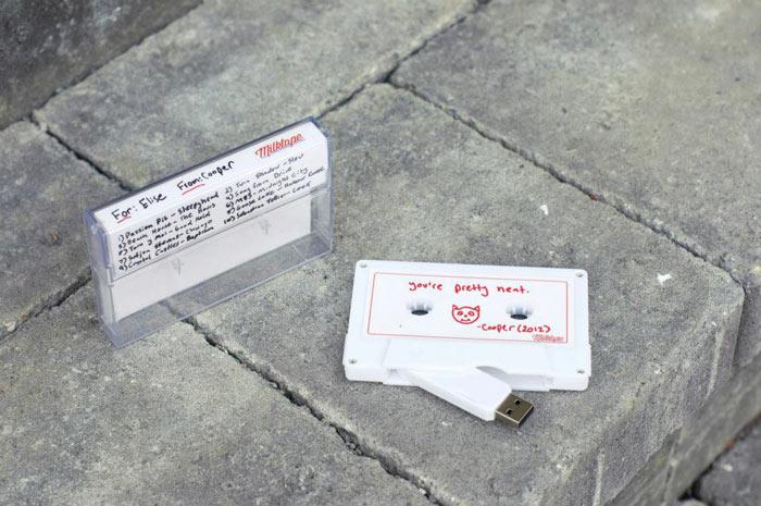 White Milktape Mixtape USB Cassette USBtape case