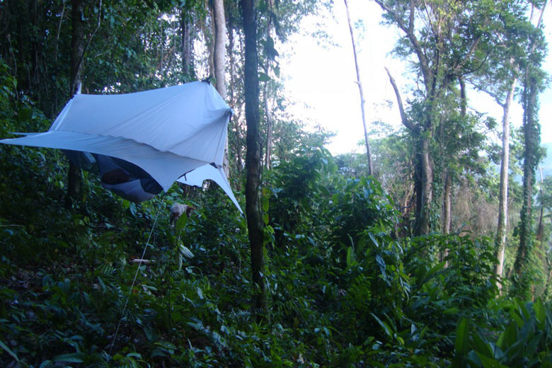 Nube Hammock Shelter by Sierra Madre being used in nature