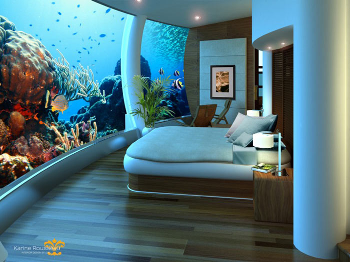 Bedroom at the Poseidon Undersea Resort in Fiji