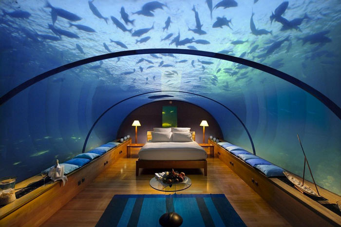 Room with glass roof at the Poseidon Undersea Resort in Fiji