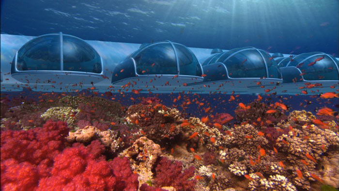 Underwater rooms at the Poseidon Undersea Resort in Fiji