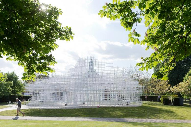 Serpentine Gallery Pavilion during the day by Sou Fujimoto and UVA