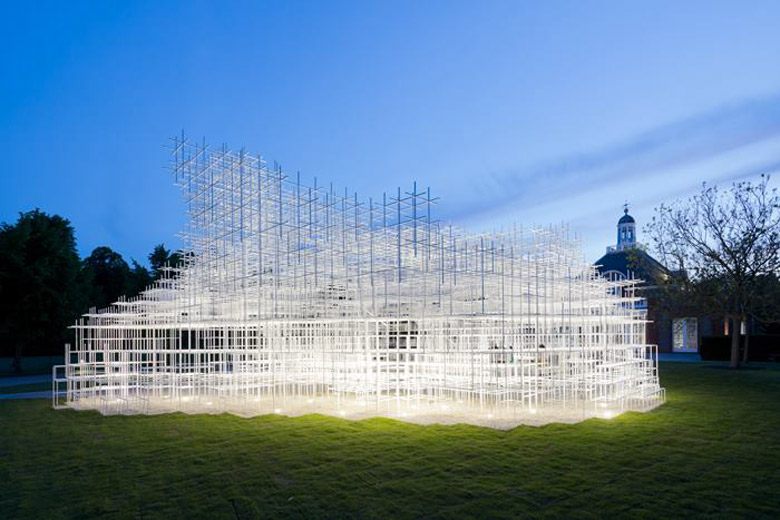 Serpentine Gallery Pavilion during the evening by Sou Fujimoto and UVA