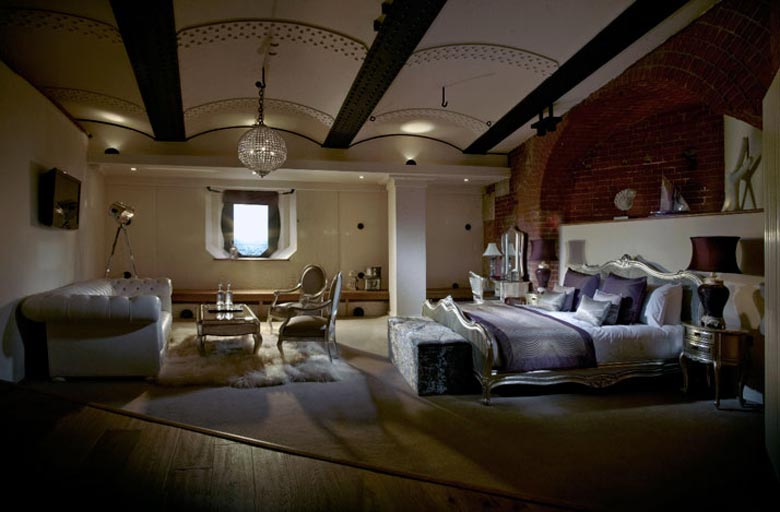Bedroom at the Spitbank Fort Hotel on the coast of Portsmouth England