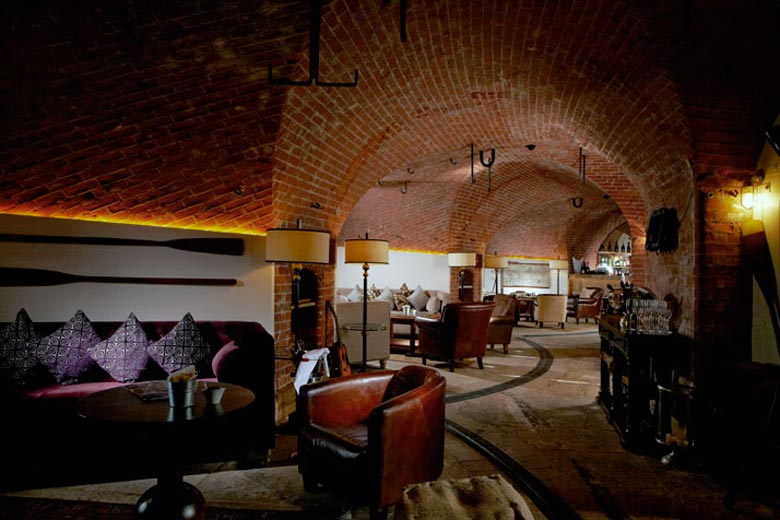 Lounge at the Spitbank Fort Hotel on the coast of Portsmouth England