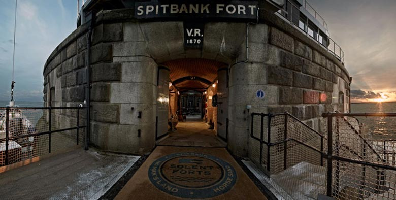 Entrance of the Spitbank Fort Hotel on the coast of Portsmouth England