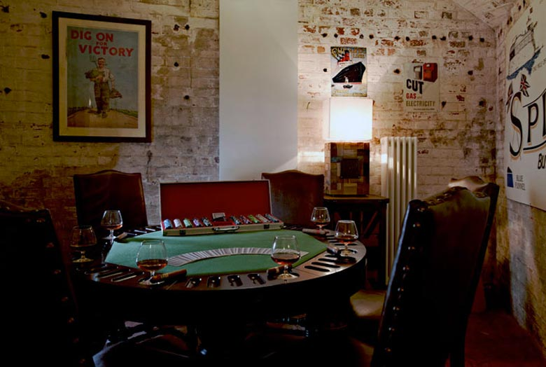 Casino table at the Spitbank Fort Hotel on the coast of Portsmouth England