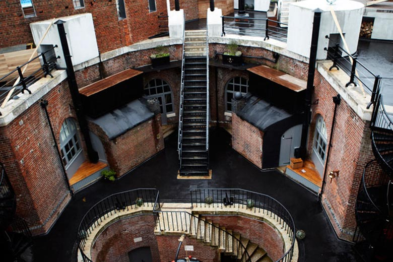 Courtyard of the Spitbank Fort Hotel on the coast of Portsmouth England