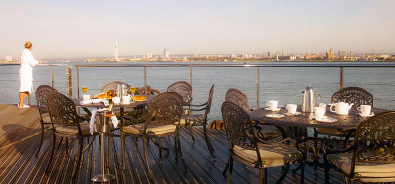 Terrace at the Spitbank Fort Hotel on the coast of Portsmouth England