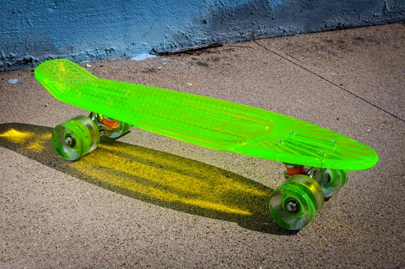 Lime green Sunset Skateboards LED Light Skateboard