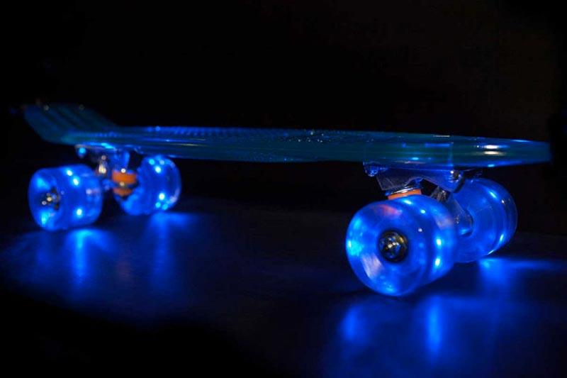 Sunset Skateboards LED Light Skateboard with blue LED lights