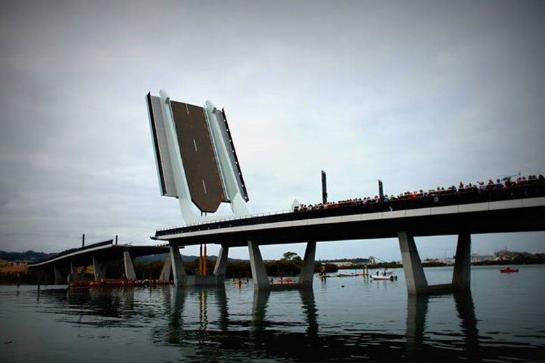 Te Matau Pohe aka 'Fish hook of Pohe' Bridge in Whangarei New Zealand Knight Architects fully extended