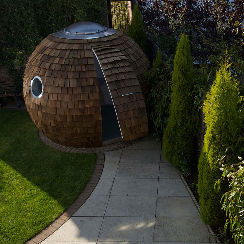 Top view of the exterior design of The Pod Garden Office by Archipod