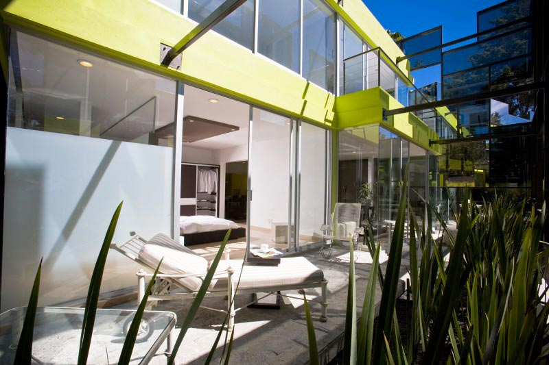 Patio at the Trevox 223 Reflective Building by CRAFT Arquitectos