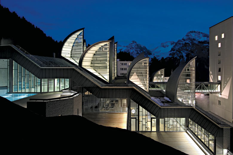 Architecture of the Tschuggen Bergoase Wellness Spa Arosa Switzerland Swiss Alps by Mario Botta Architetto