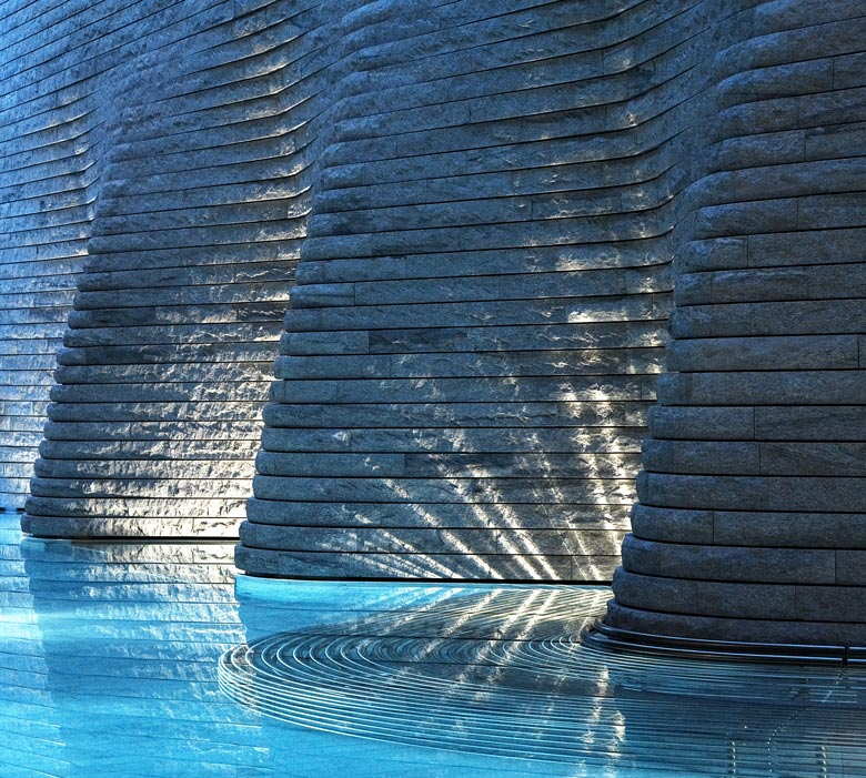 Swimming pool at the Tschuggen Bergoase Wellness Spa Arosa Switzerland Swiss Alps by Mario Botta Architetto