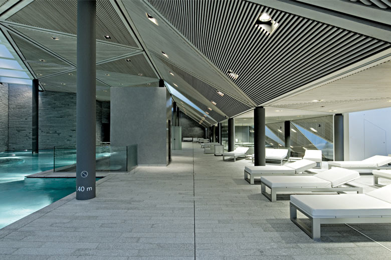Chaises at the Tschuggen Bergoase Wellness Spa Arosa Switzerland Swiss Alps by Mario Botta Architetto