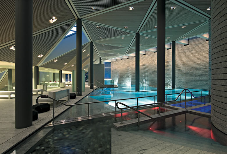 Swimming pool area at the Tschuggen Bergoase Wellness Spa Arosa Switzerland Swiss Alps by Mario Botta Architetto