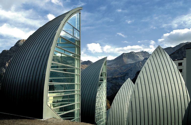 Exterior of the Tschuggen Bergoase Wellness Spa Arosa Switzerland Swiss Alps by Mario Botta Architetto
