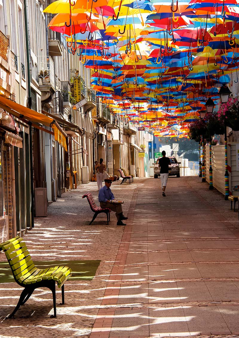 Colourful Umbrella installation in the Streets of Agueda Portugal