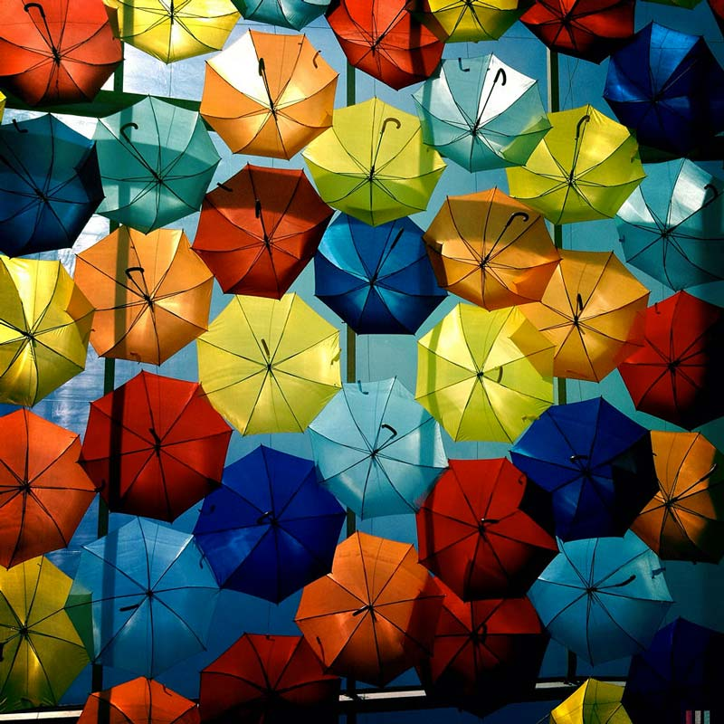 Colourful Umbrellas hanging in the Streets of Agueda Portugal
