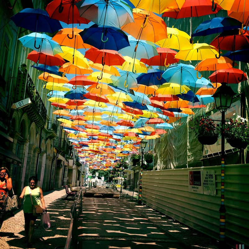 Colourful Umbrella canopy in the Streets of Agueda Portugal