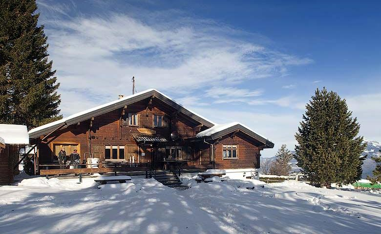 Chalet at the Whitepod Hotel in the Swiss Alps in Switzerland