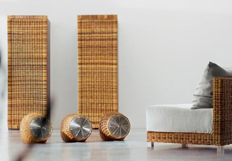 Wind Wicker Fan by Gervasoni surrounded by wicker furniture