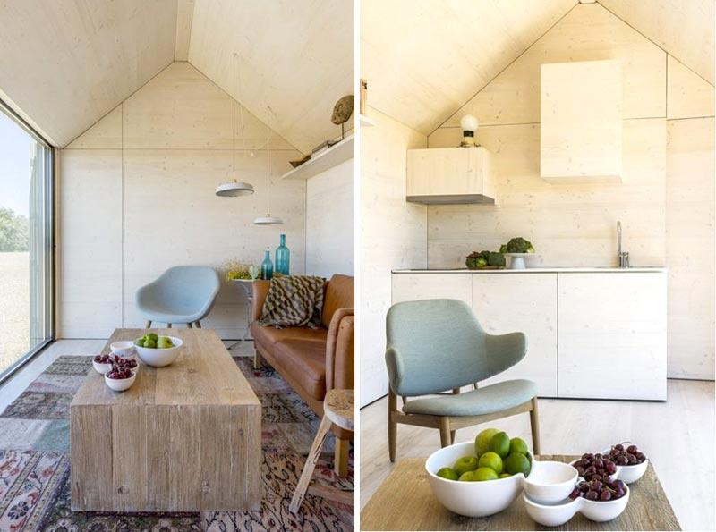 Interior design of the aph80 Portable Concrete Prefab House by Abaton