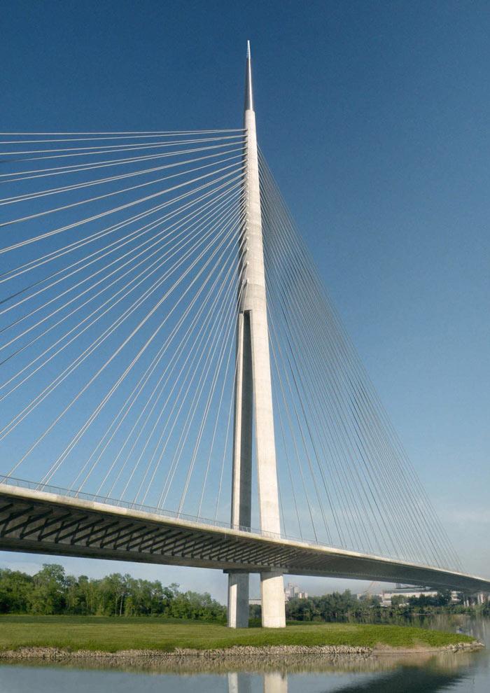 Pylon and cables of the Ada Bridge in Belgrade, Serbia