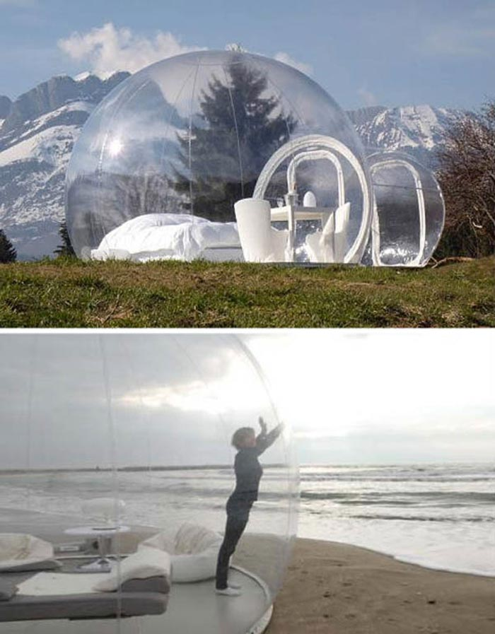 Bubble Hotel Made of Transparent Tents placed on a beach
