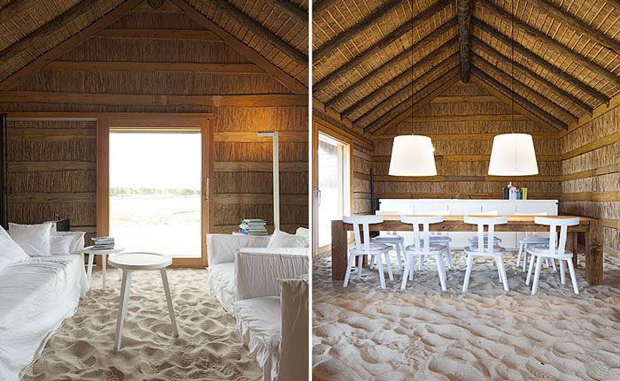 Interior design with sandy floors at Casas na Areia in Comporta Portugal