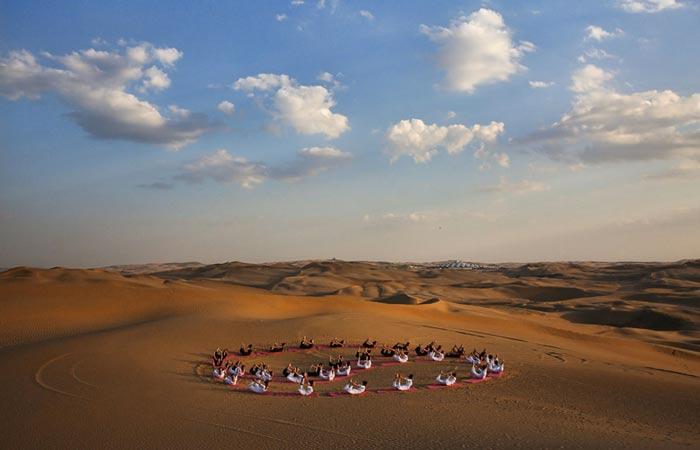 Aerial view of the Desert Lotus Resort in Mongolia in the Gobi Desert