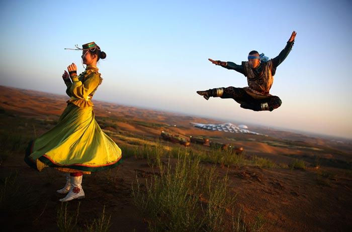 Mongolian dancers at the Desert Lotus Resort in Mongolia in the Gobi Desert