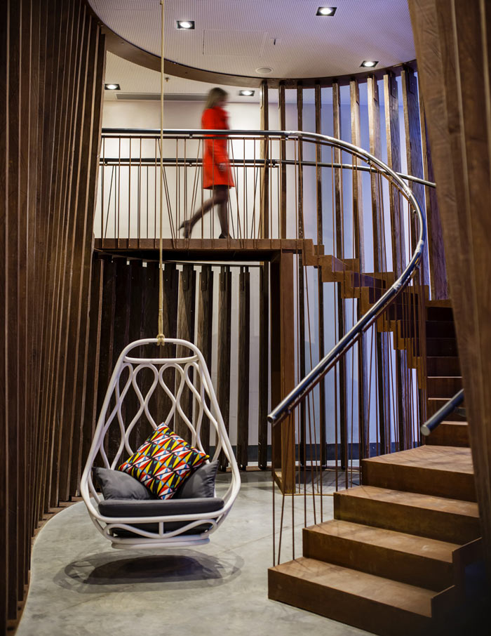 Spiral staircase at the Generator Hostel in Barcelona Spain