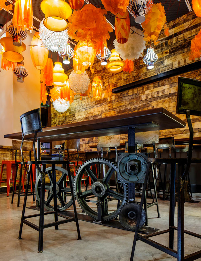 Bar area at the Generator Hostel in Barcelona Spain