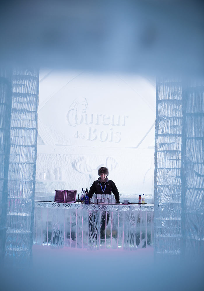 Ice bar at the Hotel de Glace, An Ice Hotel Quebec City, Canada