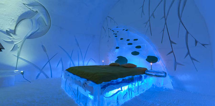 Bedroom design at the Hotel de Glace, An Ice Hotel Quebec City, Canada