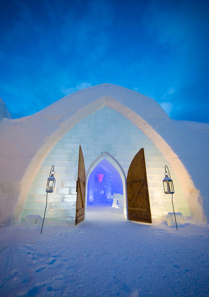 Entrance to the Hotel de Glace, An Ice Hotel Quebec City, Canada