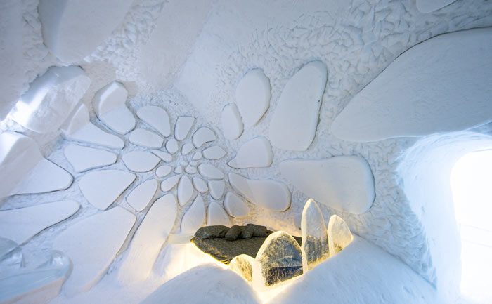 Interior design of the Hotel de Glace, An Ice Hotel Quebec City, Canada