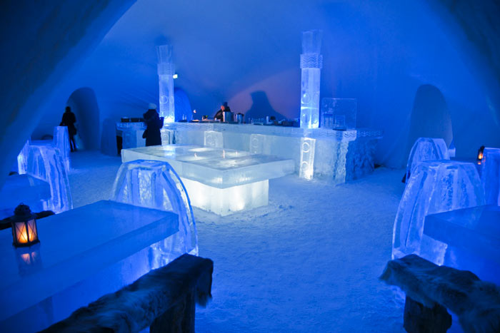 Ice bar design at the Hotel de Glace, An Ice Hotel Quebec City, Canada