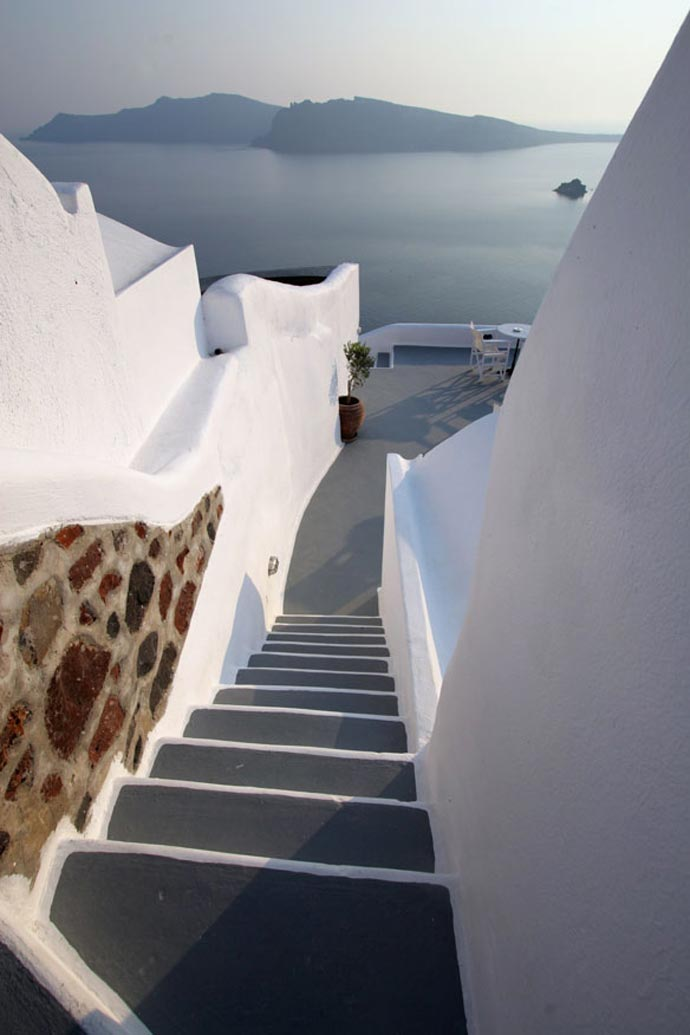 Stairs leading downstairs at the Ikies Traditional Houses in Santorini