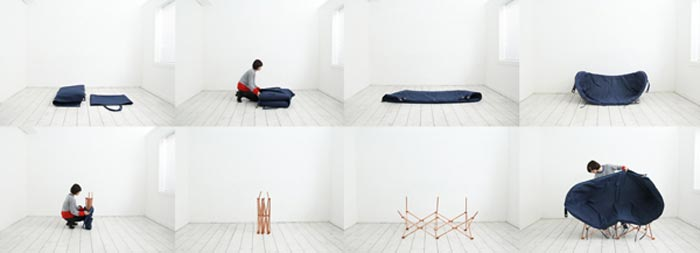 Steps involved in unfolding the KAMP Foldable Sofa KamKam Studio