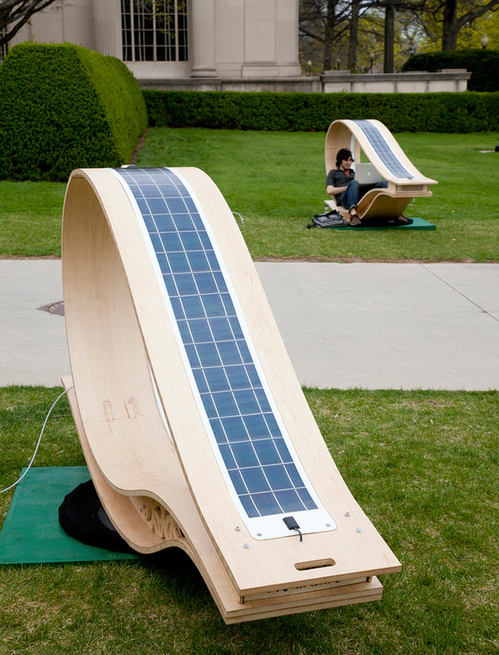 Solar panels on top of the MIT SOFT Rockers Solar Powered Charging Station & Rocking Chair