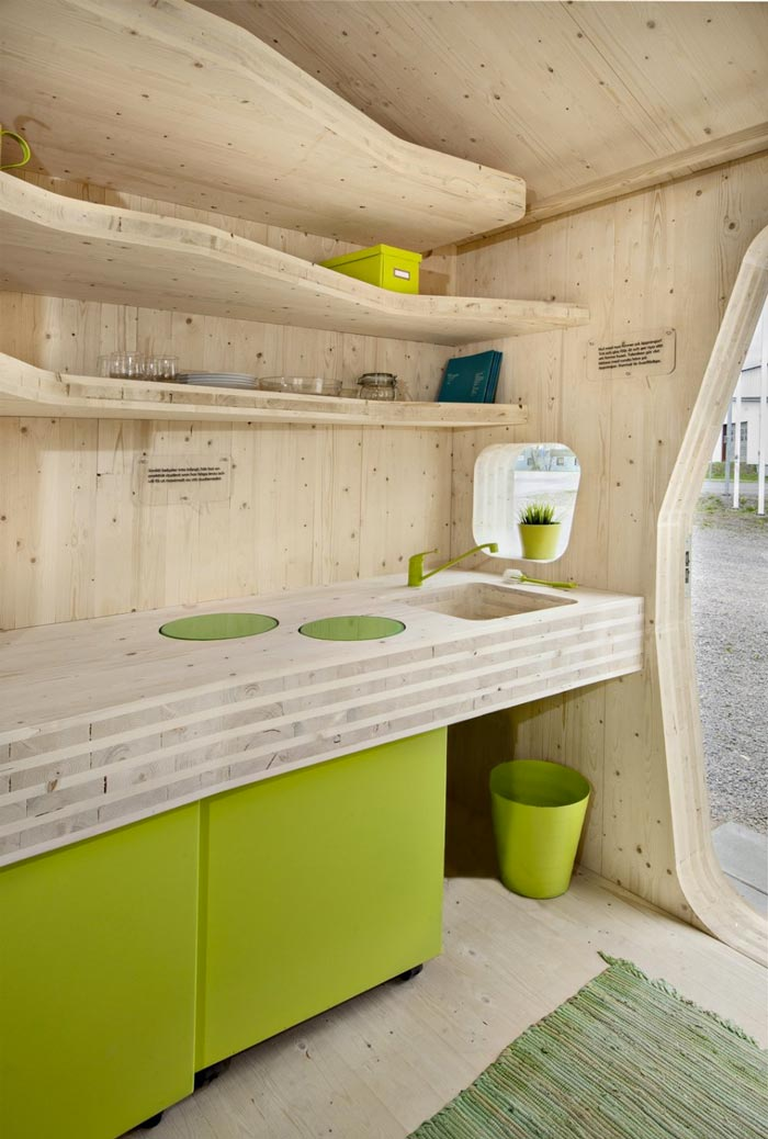 Kitchen of the Micro Cottage for Students at Virserum Art Museum Sweden