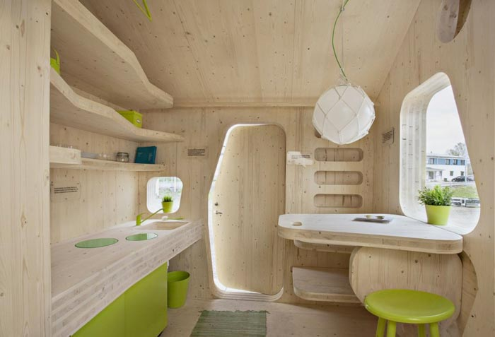 Interior design of the Micro Cottage for Students at Virserum Art Museum Sweden