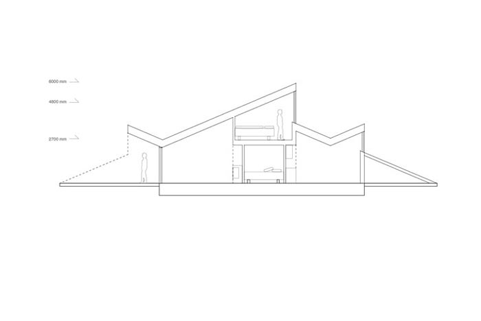 Floor plan of the Mountain Hill Ski Cabin by Fantastic Norway Architects