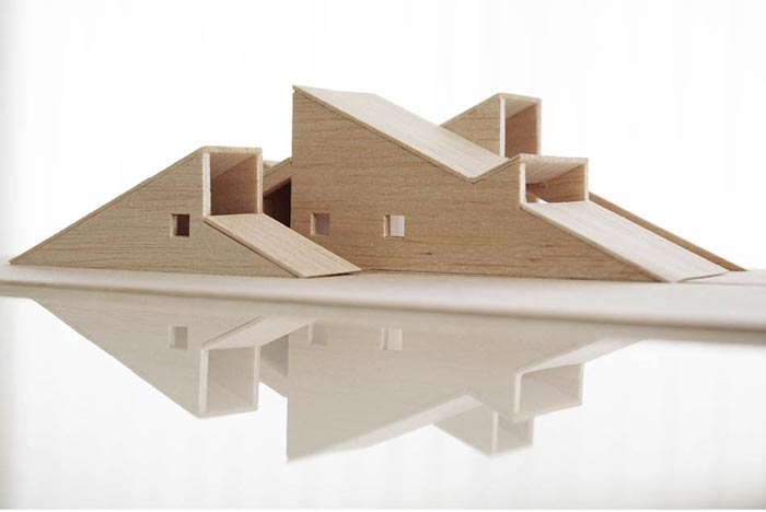 Maquette of the Mountain Hill Ski Cabin by Fantastic Norway Architects