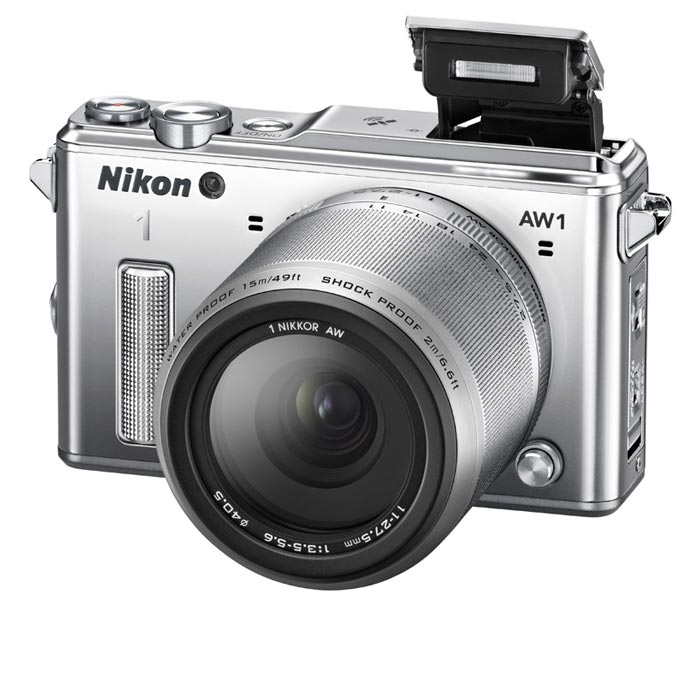 Silver Nikon 1 AW1 Waterproof Shockproof Digital Camera